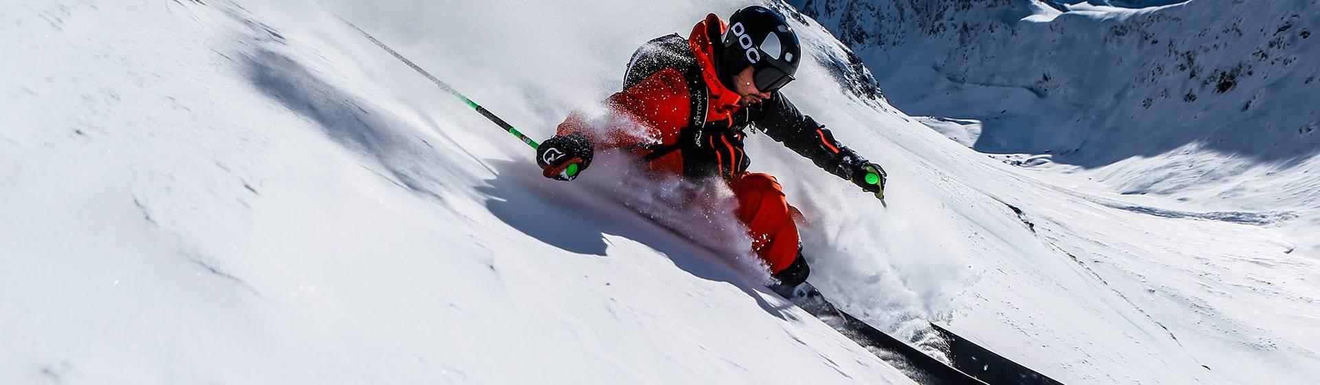 Freerider in deep snow in the best weather